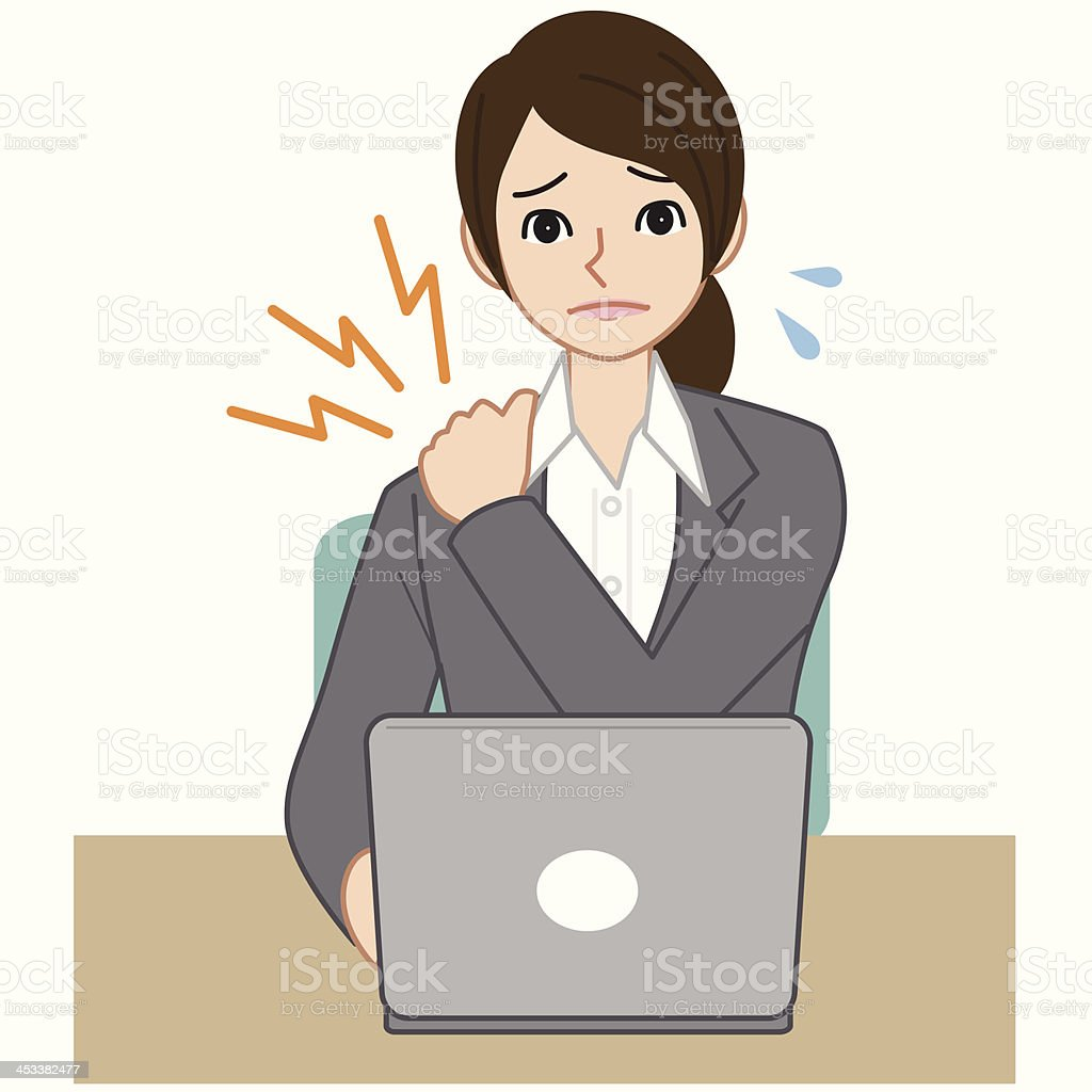 Business woman with a stiff neck vector art illustration