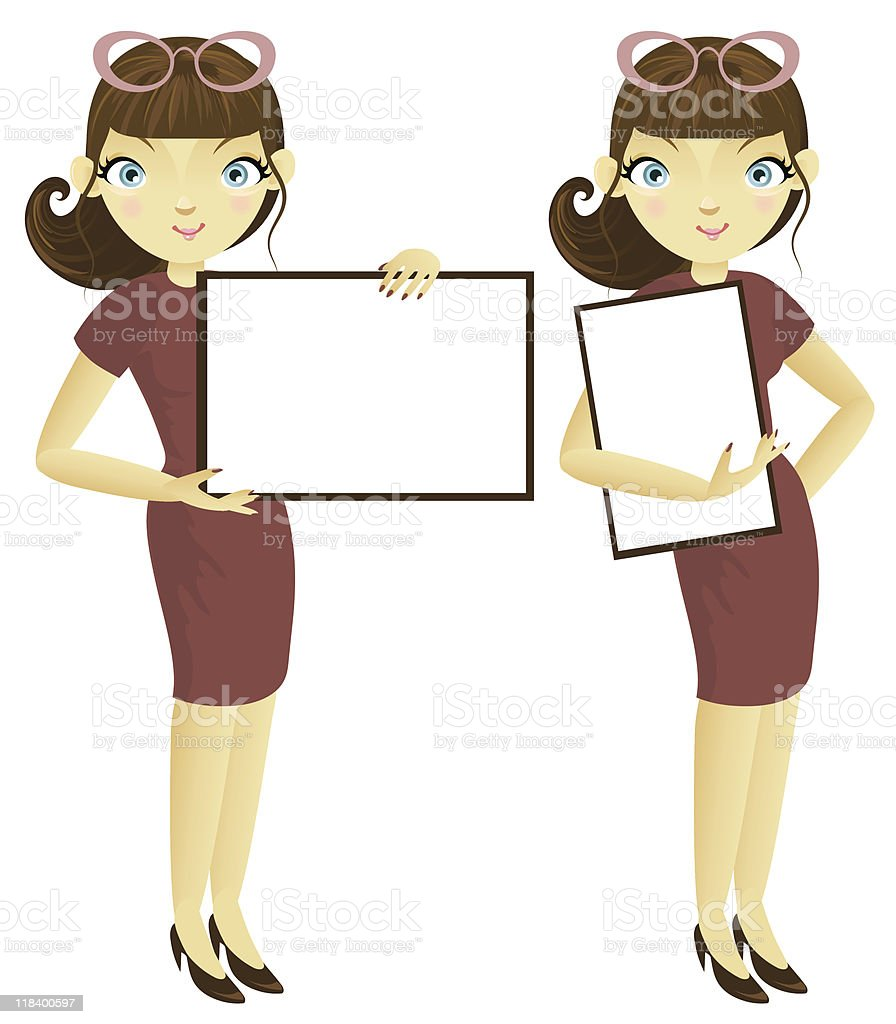 Business woman with banner royalty-free stock vector art