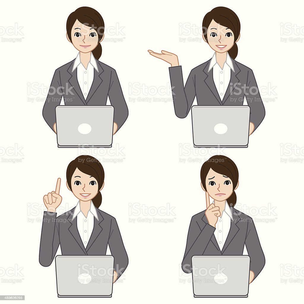 Business woman with computer vector art illustration