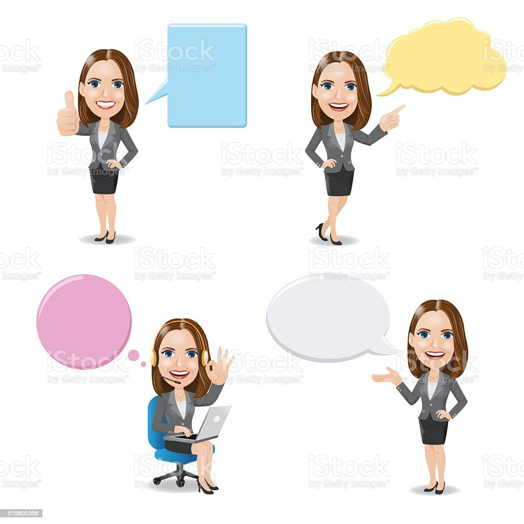 Business Woman with Empty Speech Bubbles vector art illustration