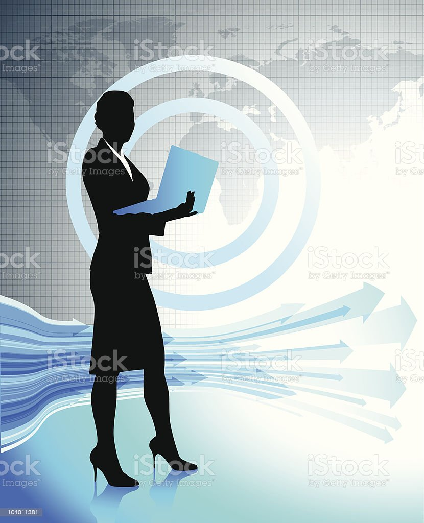 Business woman with laptop on world map royalty-free stock vector art