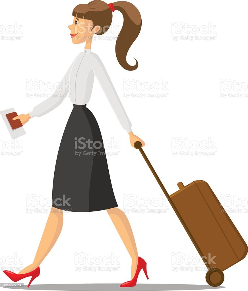Business woman with luggage vector art illustration