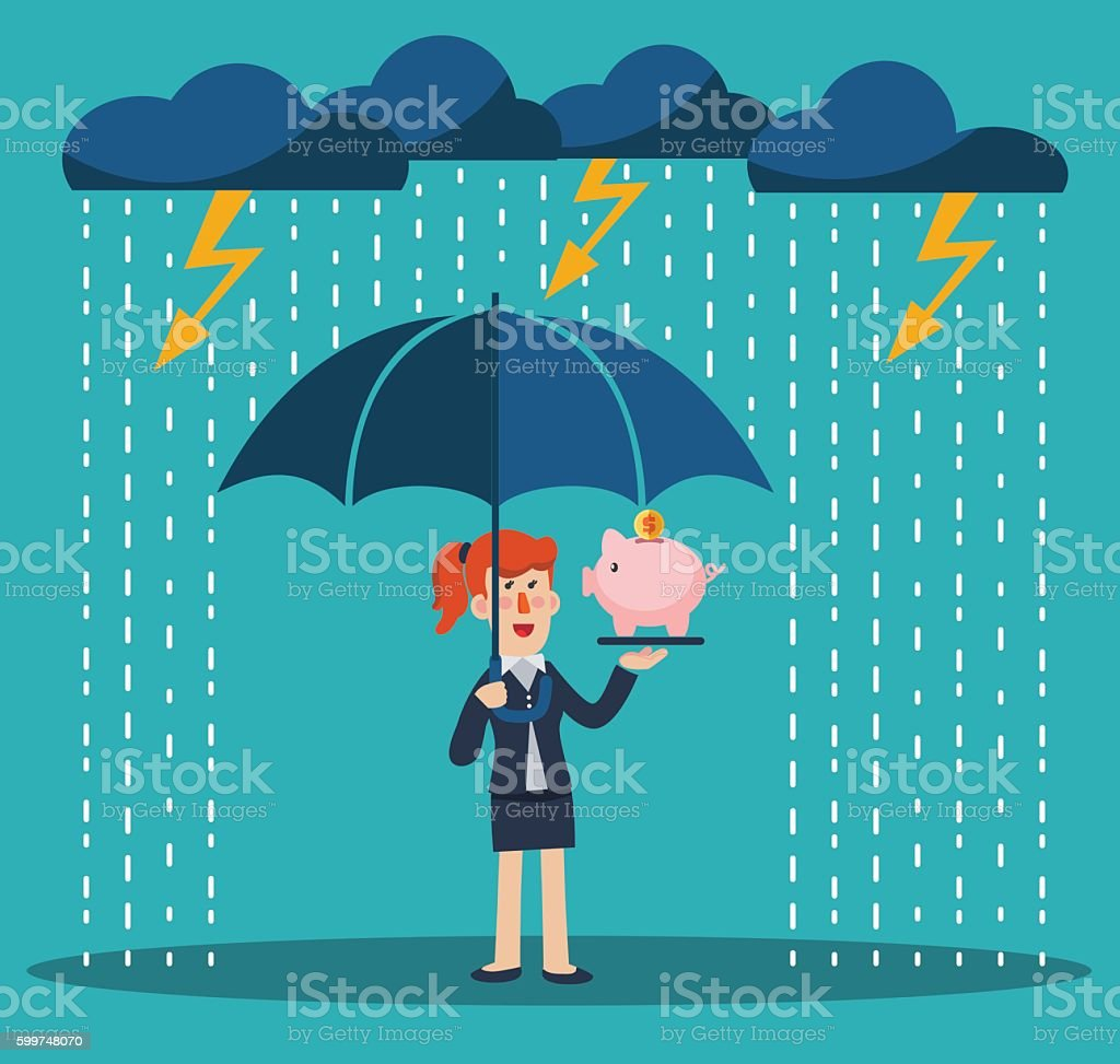 Business woman with umbrella standing under thunderstorm protecting piggy bank vector art illustration