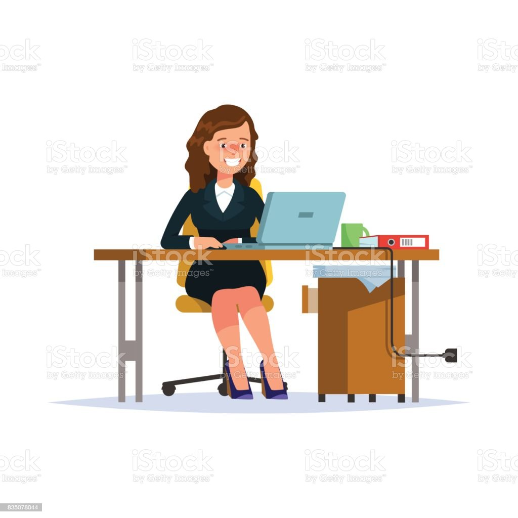 Business woman working at his laptop vector art illustration