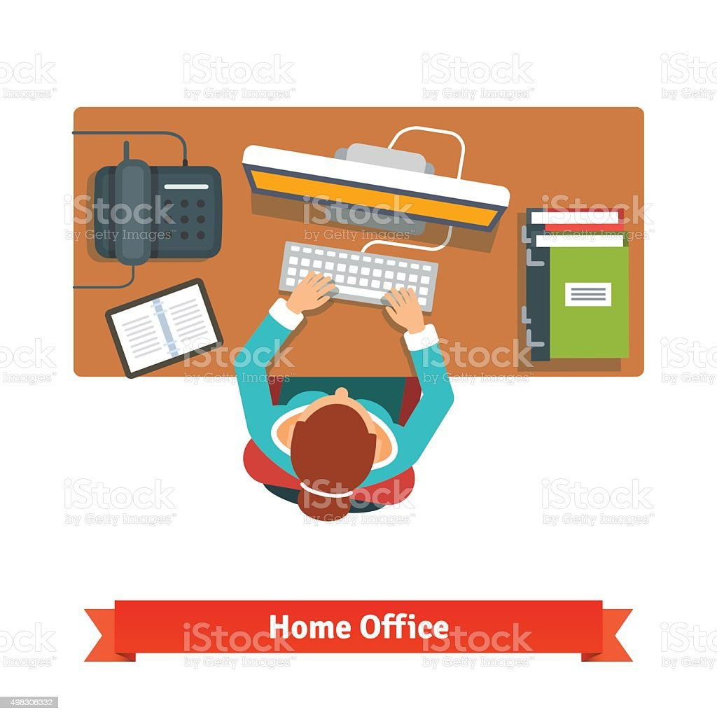 Business woman working hard sitting at the desk vector art illustration