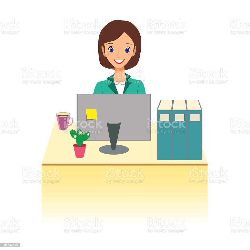 Business woman working in office. Character design. vector art illustration