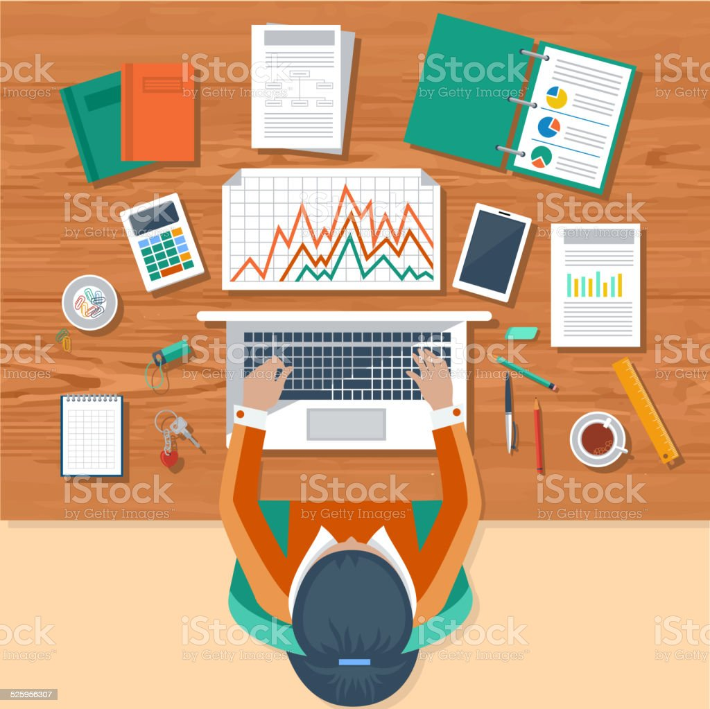 Business woman working with laptop and documents vector art illustration