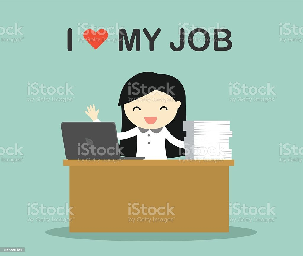 Business woman working with wording 'i love my job' vector art illustration