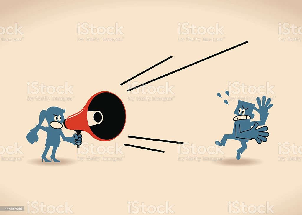 Business woman yelling at (shouting on)  man with megaphone vector art illustration