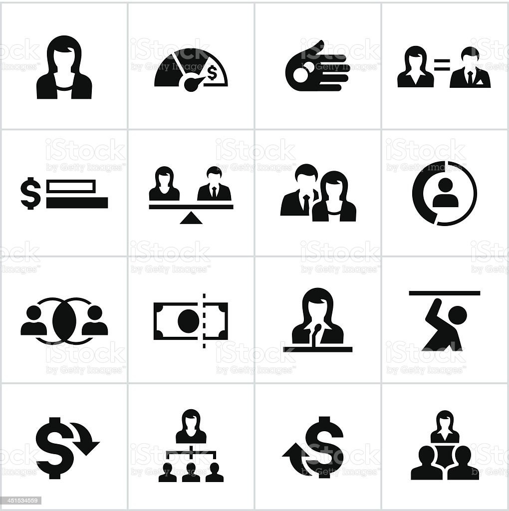 Business Women Equality Icons vector art illustration