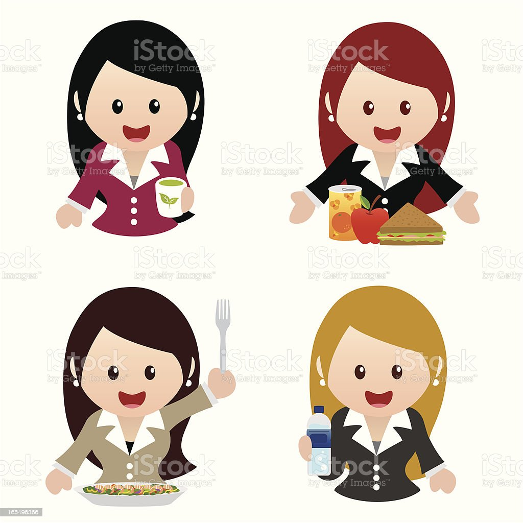 business women healthy eating icon set royalty-free stock vector art