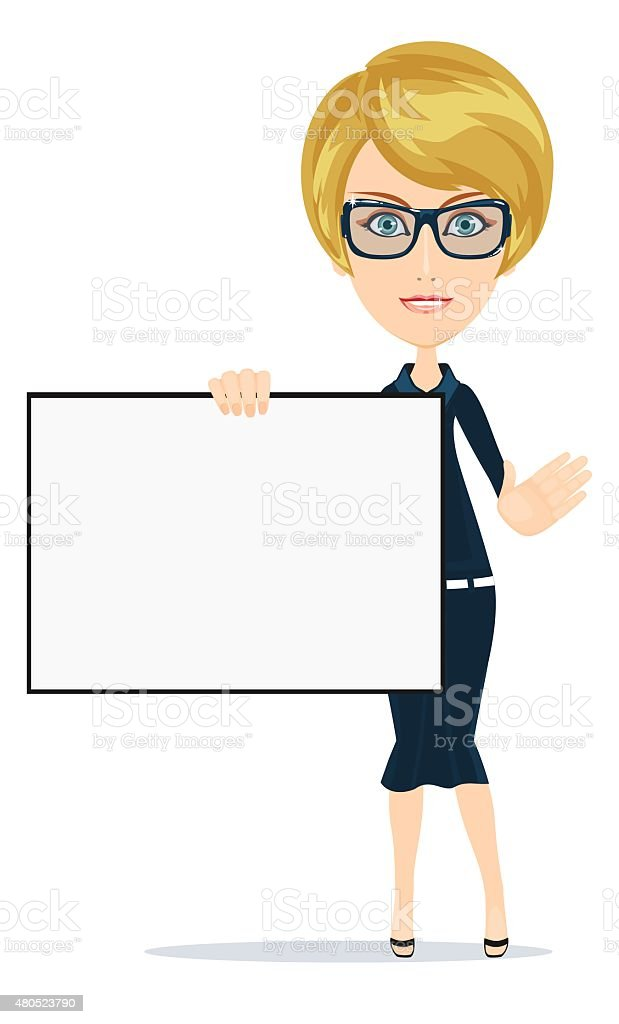 Business women holding big blank paper .Vector vector art illustration