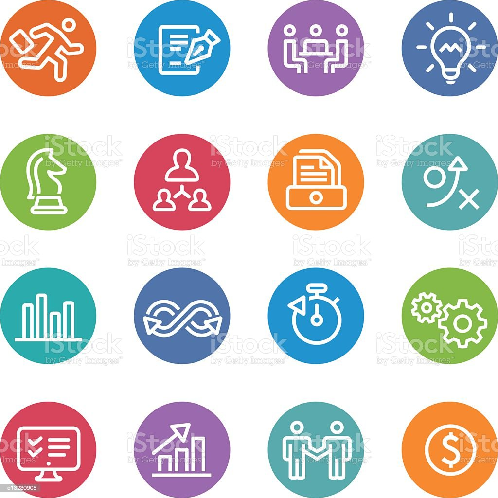 Business Workflow Icons - Circle Line Series vector art illustration