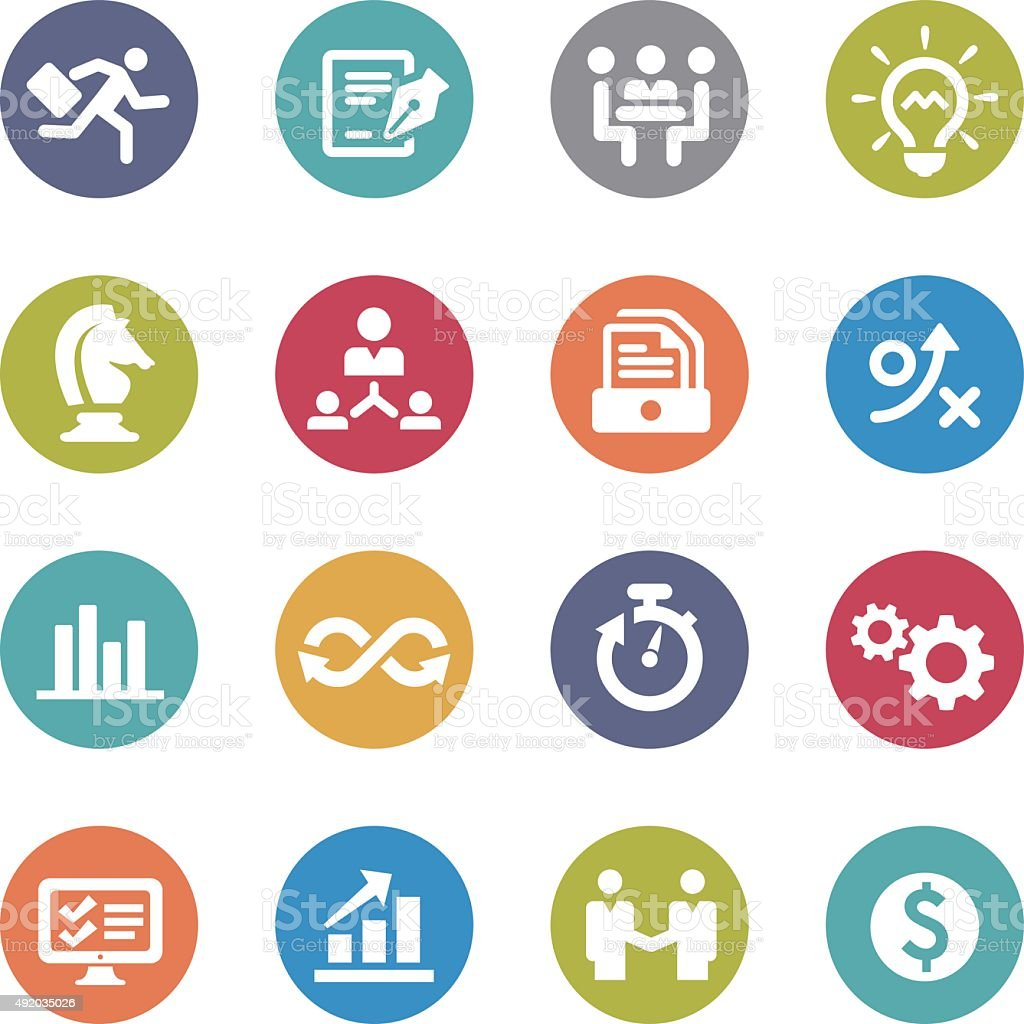 Business Workflow Icons - Circle Series vector art illustration