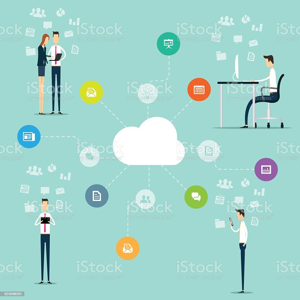 Business Working On Line Network Connection On Cloud stock vector ...