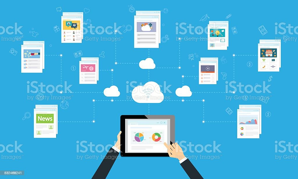 business working online and internet network on cloud vector art illustration