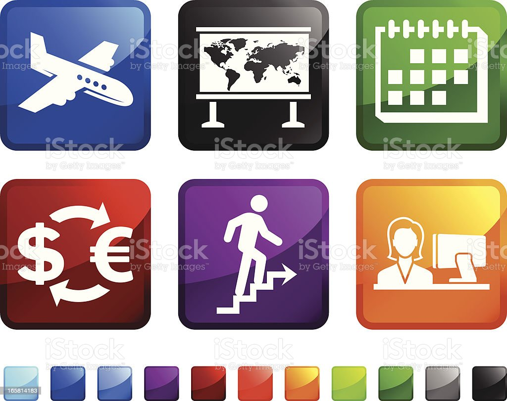 Business World Travel royalty free vector icon set stickers royalty-free stock vector art