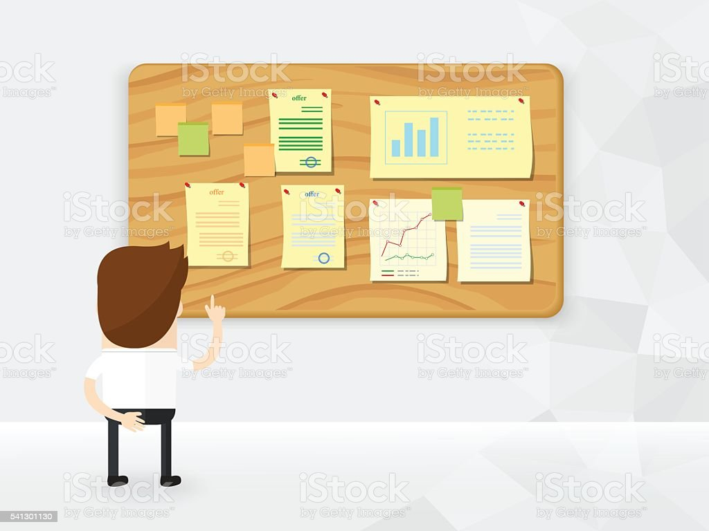 businessma interest and pointing finger to offers on information board vector art illustration