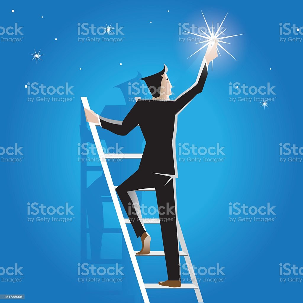 Businessman achieves success on the staircase to the stars vector art illustration