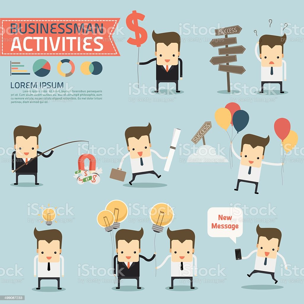 businessman activities on blue background vector art illustration