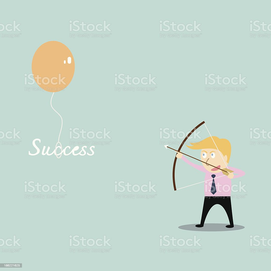 businessman aiming at success job with bow and arrow royalty-free stock vector art
