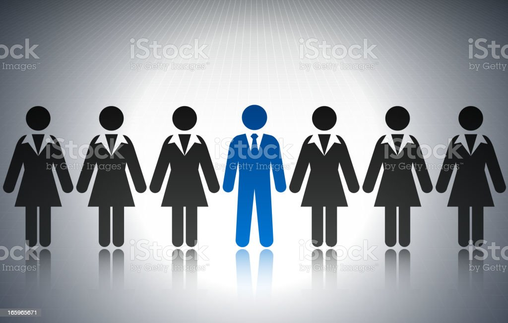Businessman among Businesswomen Concept Stick Figures royalty-free stock vector art