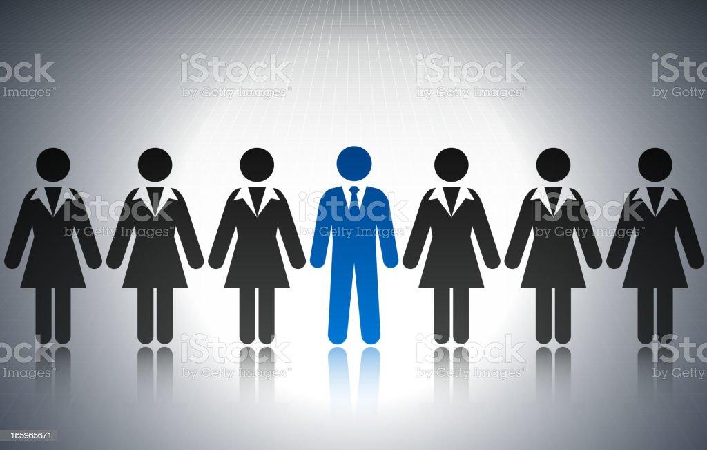 Businessman among Businesswomen Concept Stick Figures vector art illustration