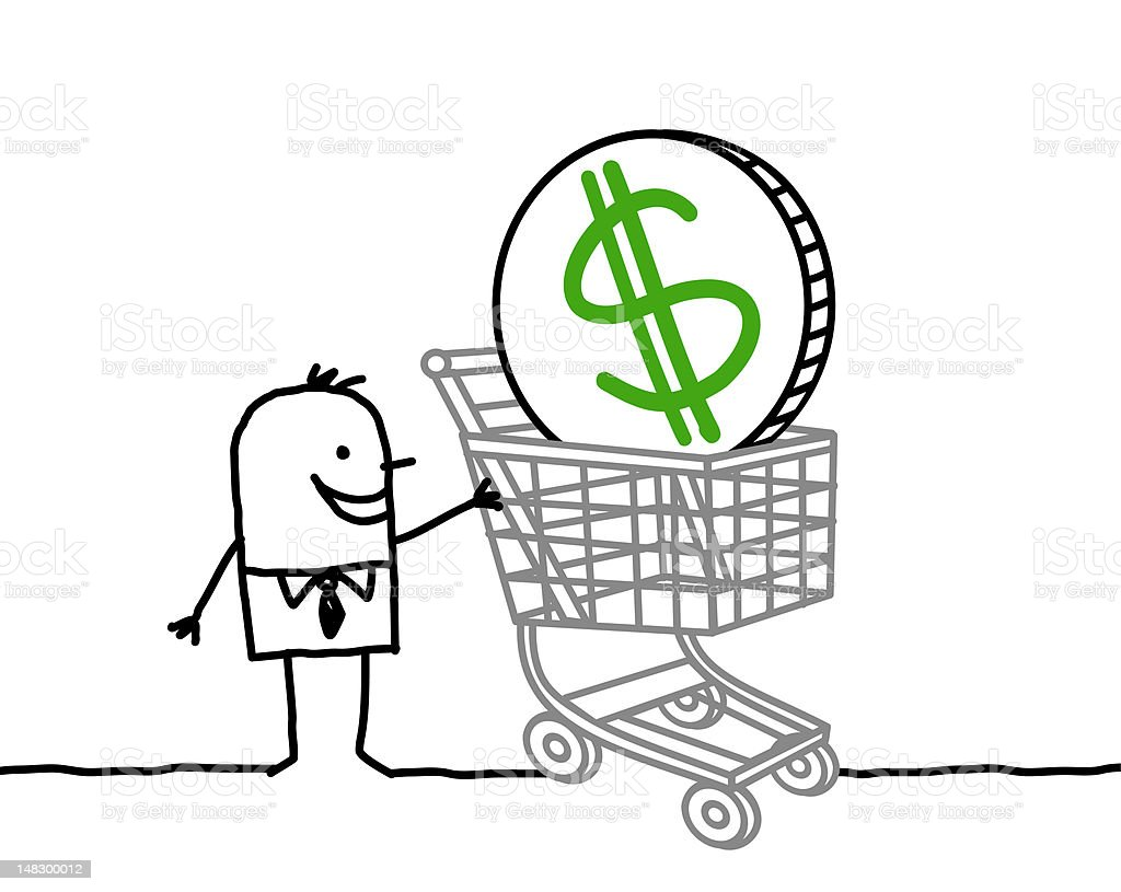 businessman & shopping cart with dollar vector art illustration