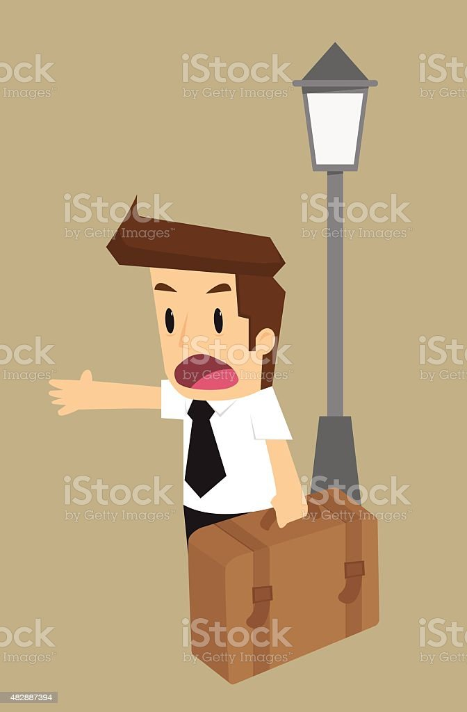 businessman and a journey vector art illustration