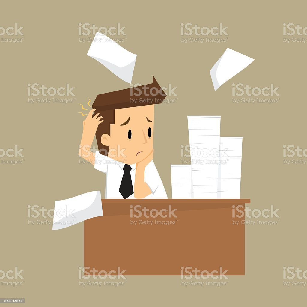 Businessman and a lot of documents vector art illustration
