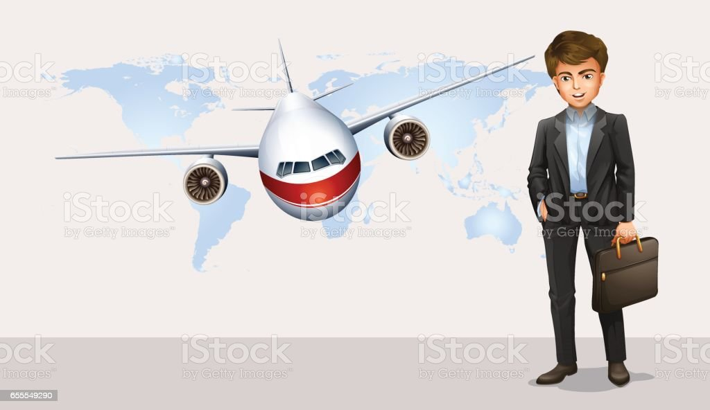 Businessman and airplane flying in background vector art illustration
