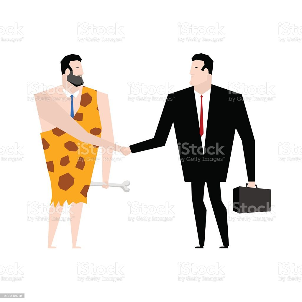 Businessman and ancient people make deal. tradel with Businessma vector art illustration