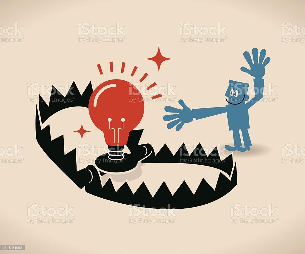 Businessman and bear trap with business ideas (bulb) as bait vector art illustration