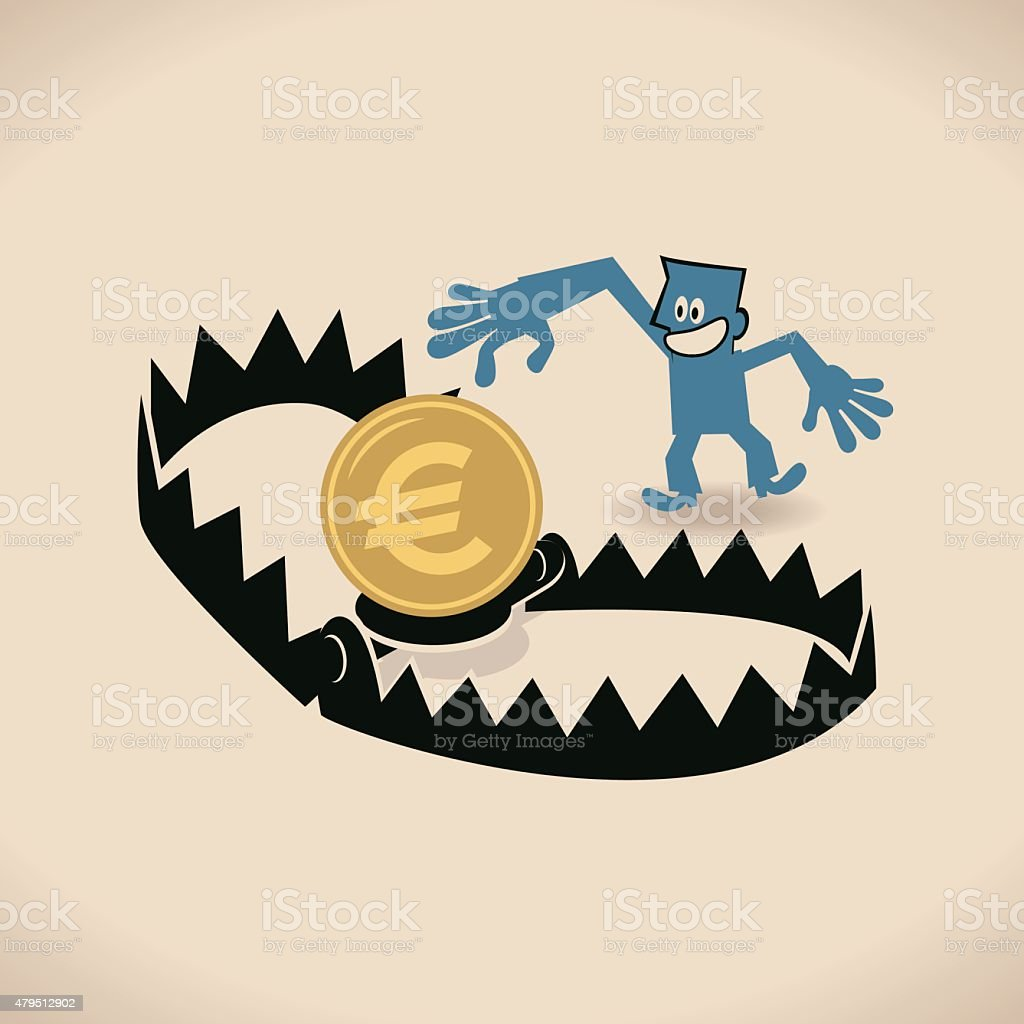 Businessman and bear trap with money (Euro sign) as bait vector art illustration