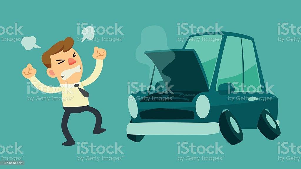 businessman and broken car vector art illustration