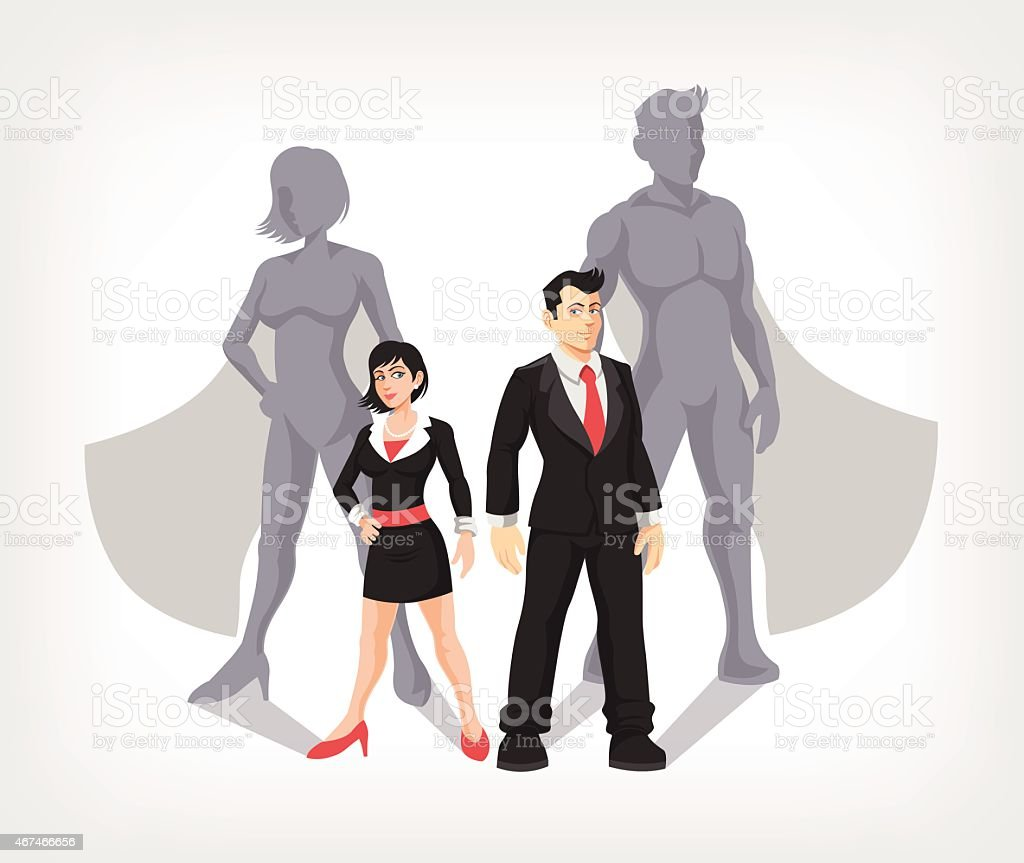 Businessman and business woman are superheroes. Vector illustration vector art illustration