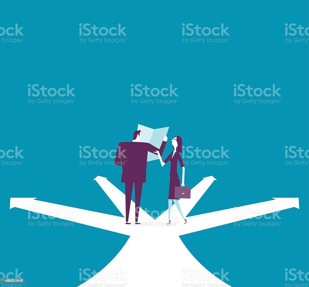 Businessman and businesswoman are discussing on the intersect vector art illustration