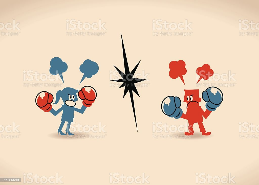 Businessman and businesswoman having a fight with boxing gloves vector art illustration