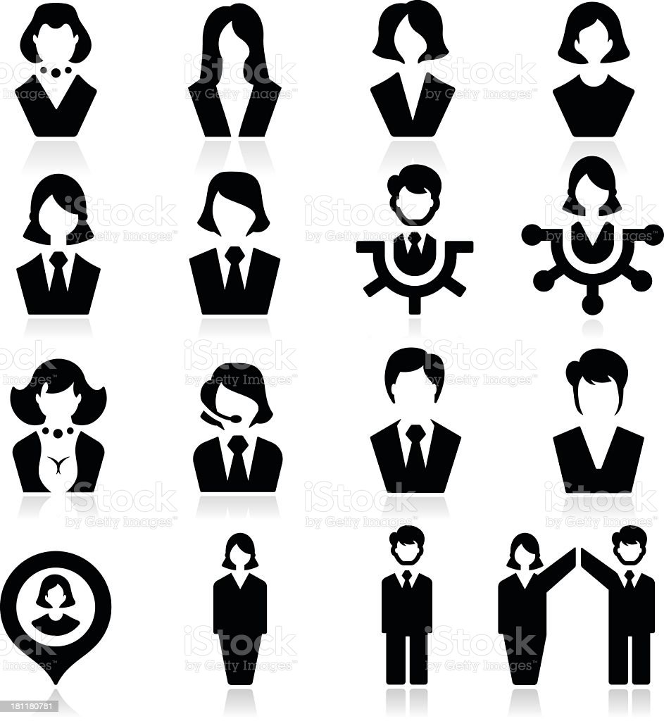 Businessman and businesswoman Icons vector art illustration