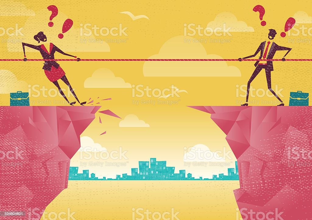 Businessman and Businesswoman in Tug of War on Clifftop. vector art illustration