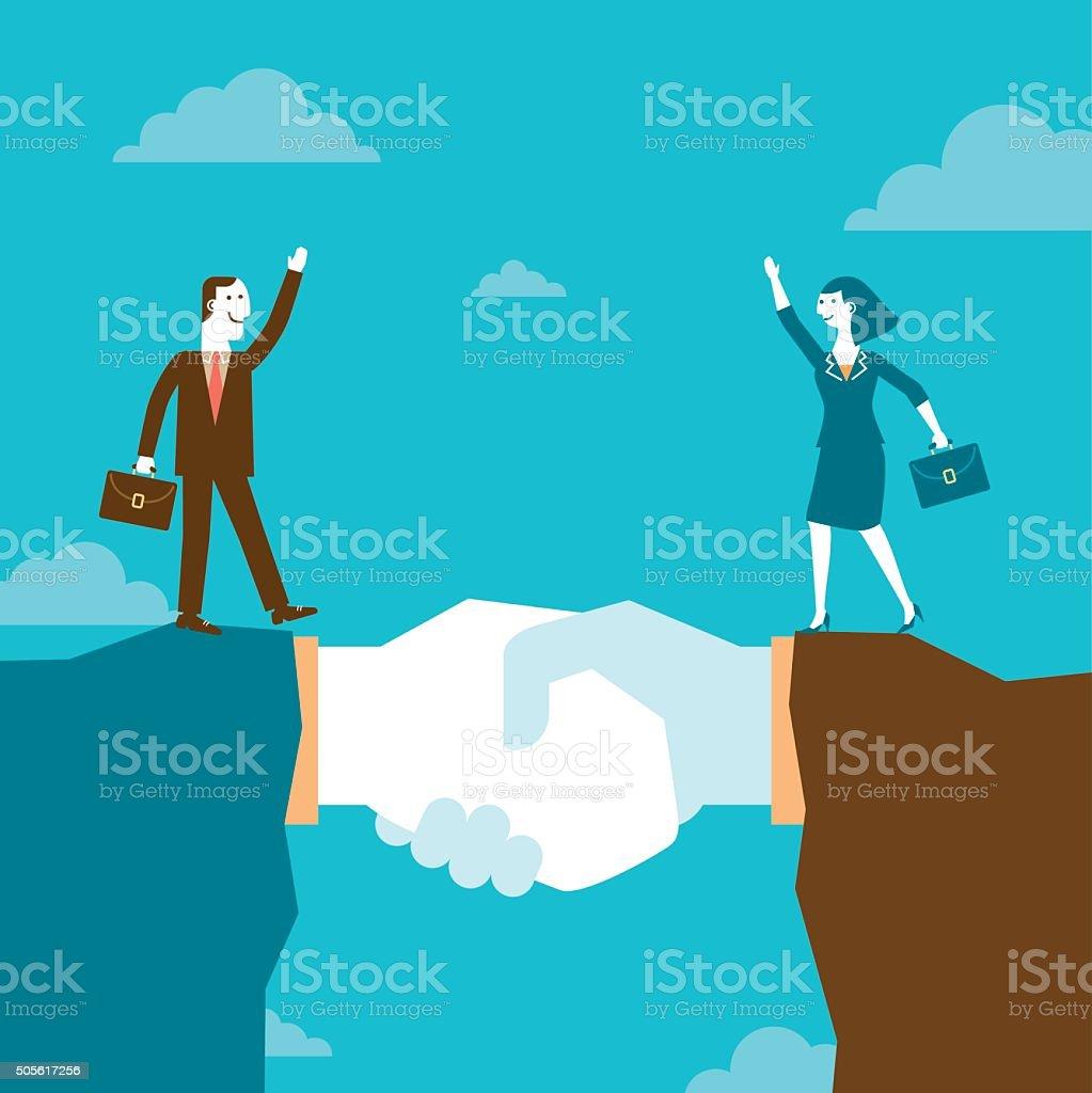 Businessman and Businesswoman on Giant Handshake Mountain | New Business vector art illustration