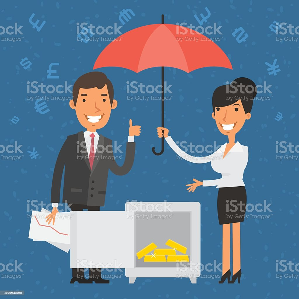 Businessman and businesswoman points to safe vector art illustration