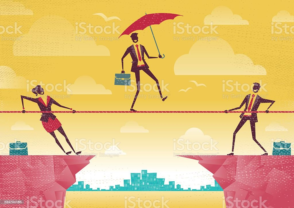 Businessman and Businesswoman use Teamwork on Clifftop. vector art illustration