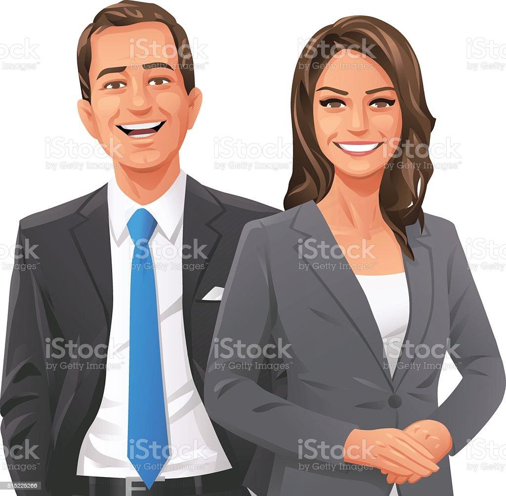 Businessman And Businesswoman vector art illustration
