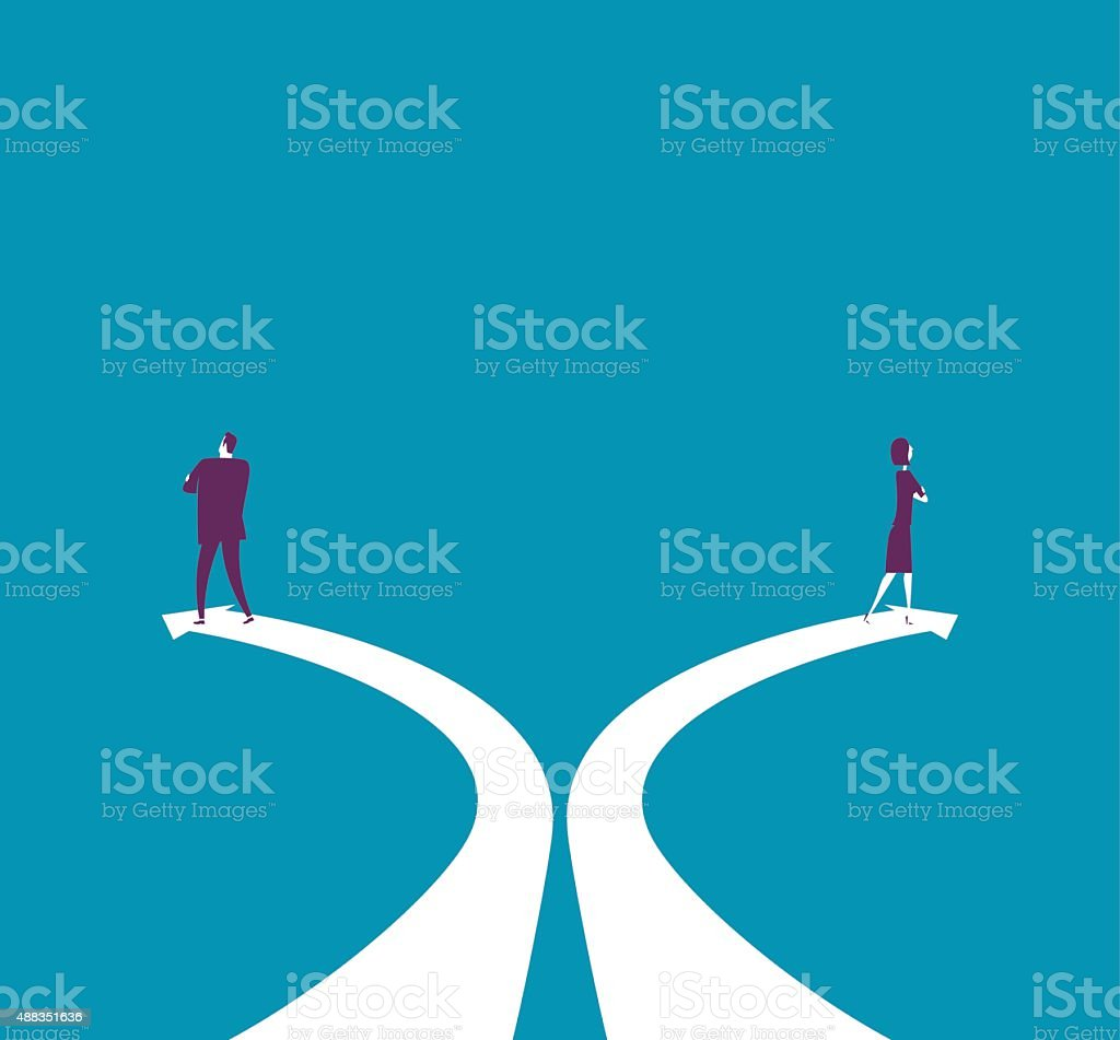 Businessman and businesswoman walking counter direction vector art illustration