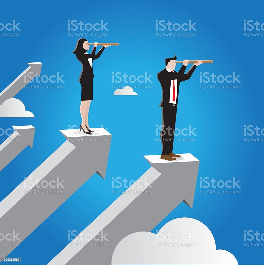 Businessman and Businesswoman with tescope looking to the future vector art illustration