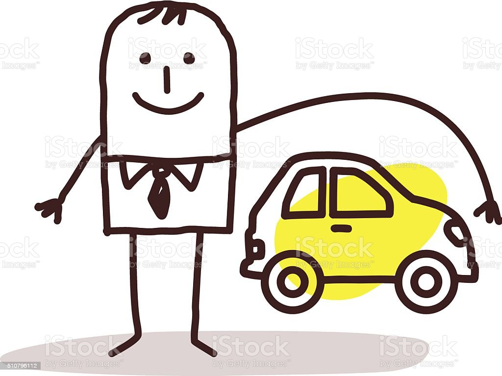 businessman and car insurance vector art illustration