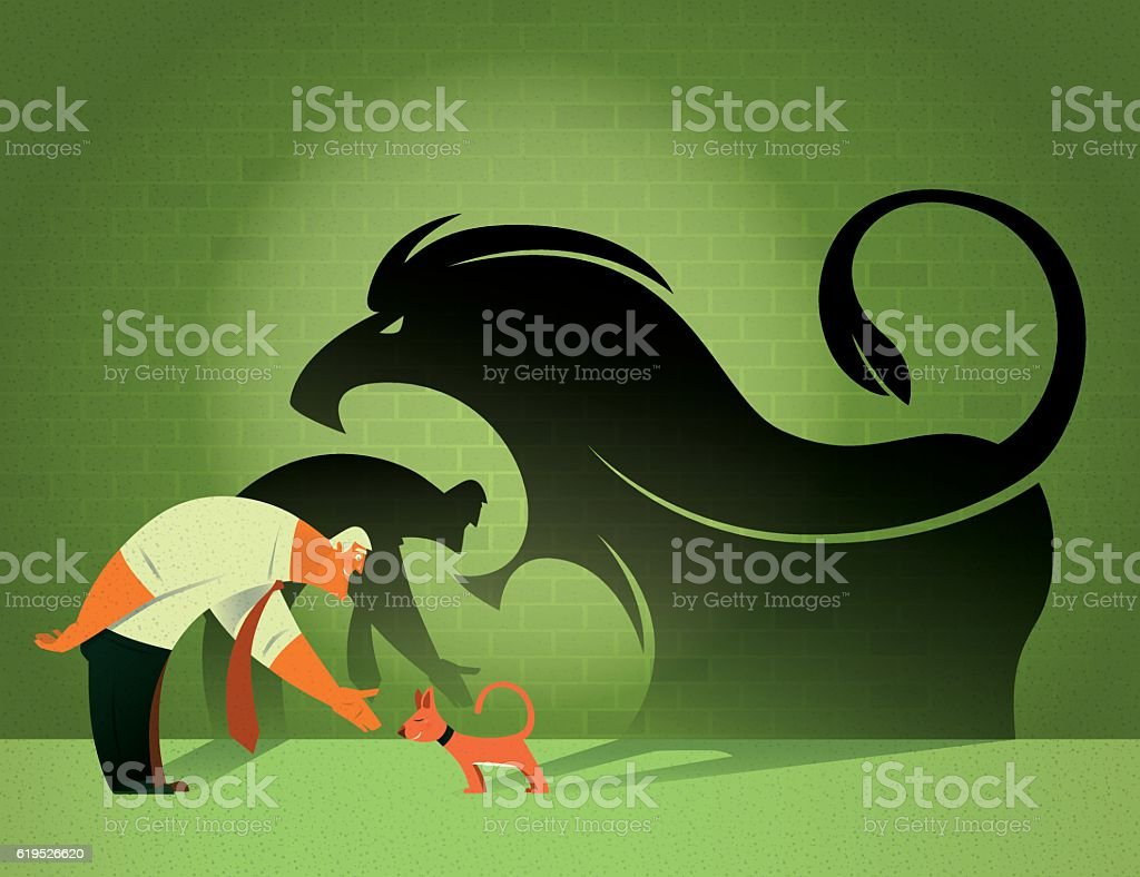 businessman and cat with angry lion shadow vector art illustration