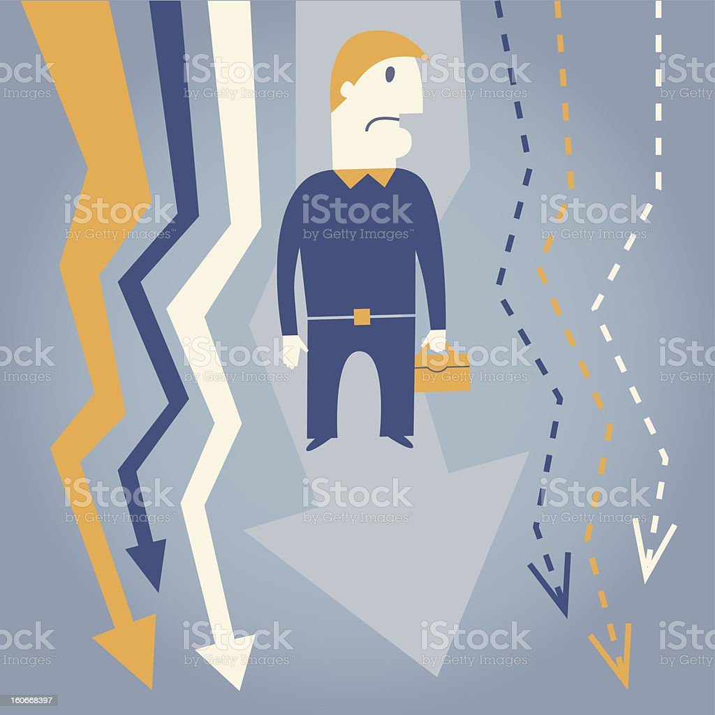 Businessman and crisis royalty-free stock vector art