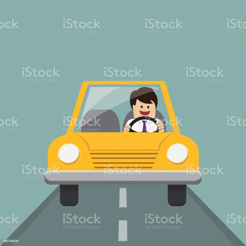 Businessman and driving car vector art illustration
